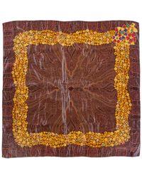 Chanel - Brown Silk Jewel Border Print Scarf - Lyst
