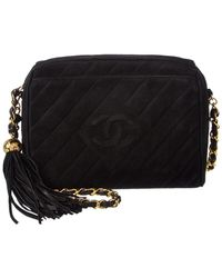 Chanel - Black Quilted Suede Small Diamond Camera Bag - Lyst