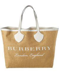 Burberry - Giant Printed Jute Shoulder Bag - Lyst