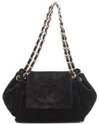 Chanel - Black Suede Half Moon Flap Bag - Lyst