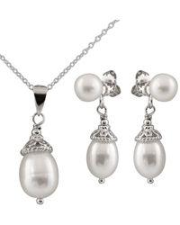 Splendid - Silver 4-8mm Freshwater Pearl Dangling Earring, Earring Jacket, & Necklace Set - Lyst