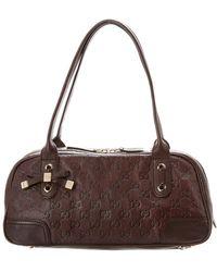 dd8131eaea Gucci Black Ssima Jacquard & Leather Baguette Bag in Black - Lyst