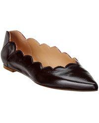 Chloé - Lauren Pointy Leather Ballerina Flat - Lyst
