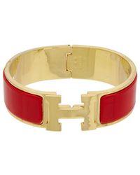 Hermès - Red Enamel Narrow Clic-clac H Bracelet - Lyst