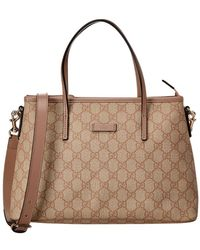 6ac82a8803ec Gucci - Pink GG Supreme Canvas & Leather Tote - Lyst