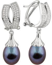 Splendid - Rhodium Plated 9-10mm Tahitian Pearl & Cz Earrings - Lyst