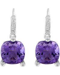Poiray - 18k 0.10 Ct. Tw. Diamond & Amethyst Drop Earrings - Lyst