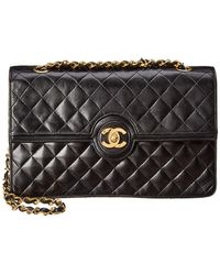 Chanel - Black Quilted Lambskin Leather Circle Lock Bag - Lyst