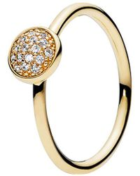 PANDORA 14k Cz Dazzling Droplet Ring - Metallic