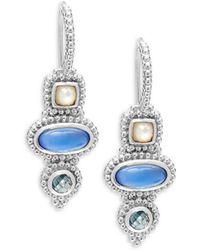 Judith Ripka - Sterling Silver Quartz & Spinel Drop Earrings - Lyst