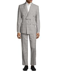 Aspetto - Windowpane Notch Lapel Double Breasted Suit - Lyst