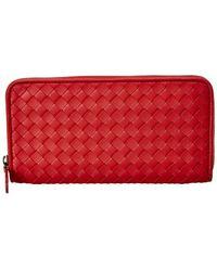 Bottega Veneta - Intrecciato Nappa Leather Zip Around Wallet - Lyst