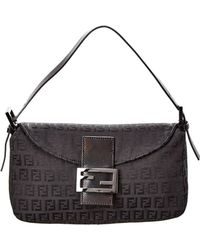 7da6a8d373 Fendi - Black Zucchino Canvas Baguette Bag - Lyst