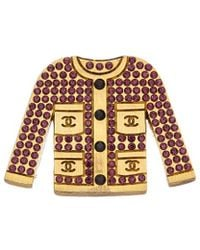 Chanel - Gold-tone & Purple Crystal Jacket Pin - Lyst