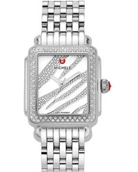 Michele - Women's Deco Diamond Watch - Lyst