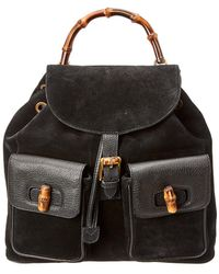 Gucci Black Leather Limited Edition Bamboo Backpack in Black - Lyst dd64dcb972bd1