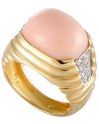 Heritage Van Cleef & Arpels - Van Cleef & Arpels 18k Two-tone 0.20 Ct. Tw. Diamond & Coral Ring - Lyst