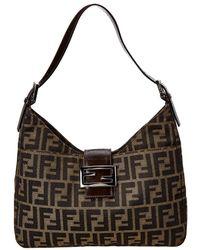 30d748b03fa2 Lyst - Fendi Brown Canvas   Leather
