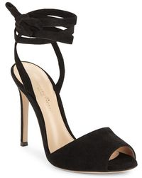 Gianvito Rossi - Textured Leather Ankle Strap Sandal - Lyst