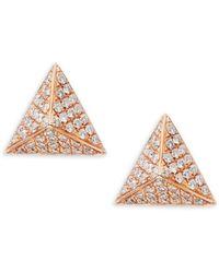 Nephora - Pave Diamond Pyramid 14k Rose Gold Studs - Lyst
