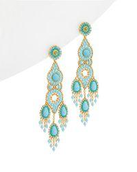 Miguel Ases | 18k Turquoise & Crystal Drop Earrings | Lyst