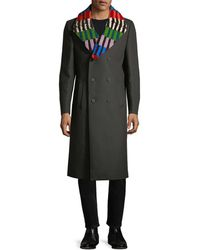 Fendi - Stripe Notch Wool Coat - Lyst