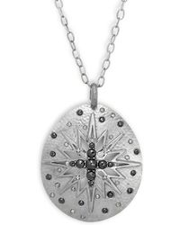 Bavna - Champagne Diamond, Black Spinel & Silver Necklace - Lyst