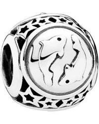 PANDORA - Silver Pisces Star Sign Charm - Lyst