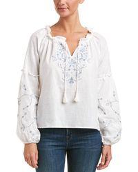 Haute Rogue - Embroidered Linen-blend Top - Lyst