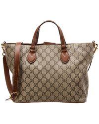 5206e1739 Gucci - Brown GG Supreme Canvas & Leather Handbag - Lyst