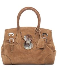 Ralph Lauren - Collection Tan Suede Soft Ricky 27 Satchel - Lyst d6334ad1f6163