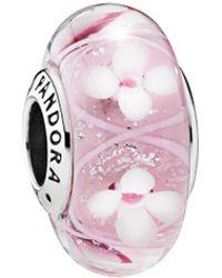 PANDORA - Silver Murano Glass Pink Field Of Flowers Charm - Lyst