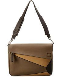Loewe Puzzle Leather Shoulder Bag - Brown