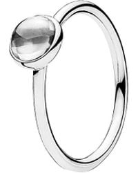 PANDORA - Silver Cz Poetic Droplet Ring - Lyst