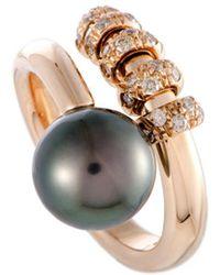 Mikimoto - 18k Rose Gold 0.35 Ct. Tw. Diamond & 10-11mm Pearl Ring - Lyst
