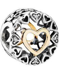 PANDORA - 14k & Silver Cz Loving Circle Charm - Lyst
