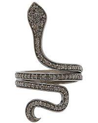 Adornia - Fine Jewellery Silver 0.90 Ct. Tw. Diamond Wrap Snake Ring - Lyst