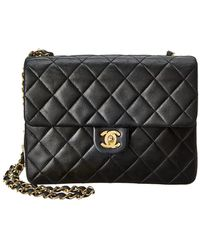 9fab071074519e Chanel - Black Quilted Lambskin Leather Mini Single Flap Bag - Lyst