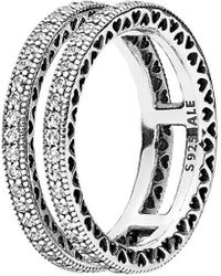 PANDORA Silver Cz Double Hearts Of Ring - Metallic