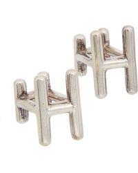 Hermès - Silver-tone H Cufflinks - Lyst