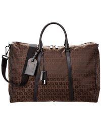 Fendi - Brown Zucchino Canvas & Leather Large Boston Bag - Lyst