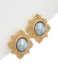 Carolee - West Side 12k Plated Crystal & Glass Pearl Studs - Lyst