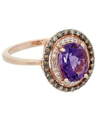 Effy - Fine Jewellery 14k Rose Gold 1.82 Ct. Tw. Diamond & Amethyst Ring - Lyst