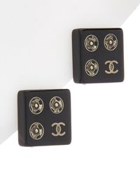 Chanel - Silver-tone & Black Square Earrings - Lyst