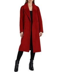 Badgley Mischka Mid Length Double Breasted Wool Coat