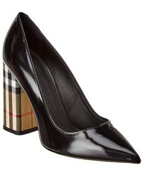 Burberry - Vintage Check And Leather Court Shoes - Lyst