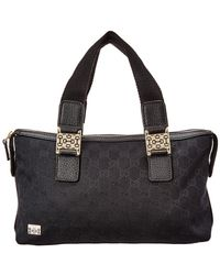 3043ab47b5d0 Gucci - Black GG Canvas   Leather Web Handle Tote - Lyst