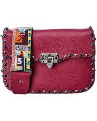 2512f710601c9 Valentino Lock Noir Small Leather Shoulder Bag in Black - Lyst
