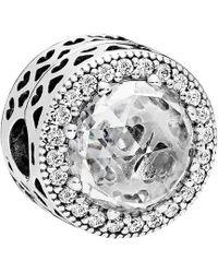 PANDORA Silver & Cz Radiant Heart Clip Charm