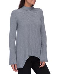 Bobeau - Anna Mock Neck Stripe T-shirt - Lyst